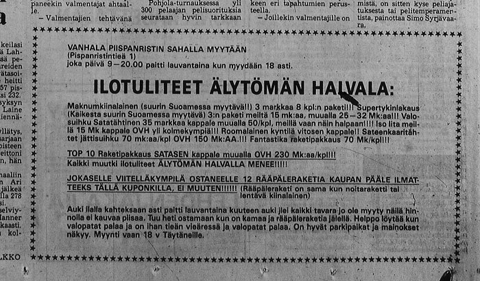 Mainos Turun Sanomissa 27.12.1989